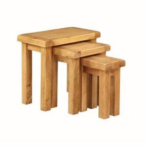 Newbridge Oak nest of 3 tables-0