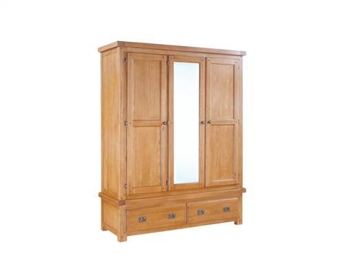 Newbridge Oak 3 door mirrored wardrobe-0