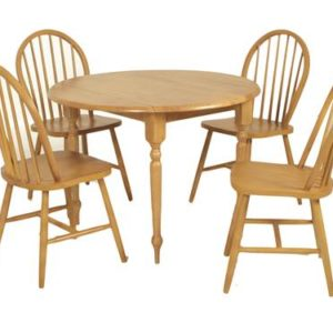 Country kitchen round drop leaf dining set-0