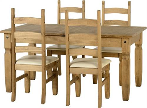 Corona extending dining set with 4 padded seat chairs-0