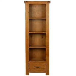 Earlswood oak slim bookcase with drawer-0
