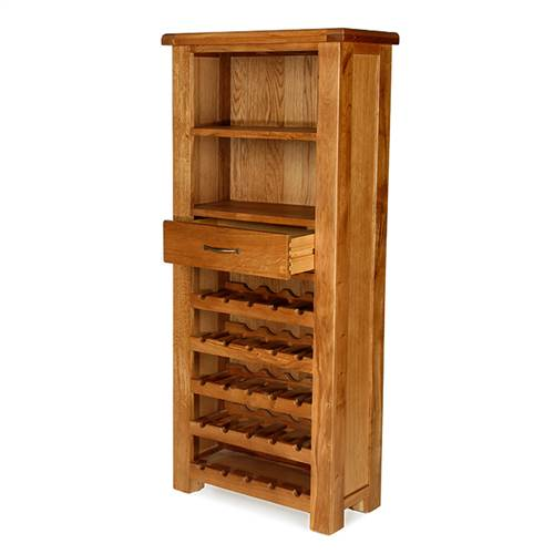 Earlswood oak tall wine cabinet with drawer-0