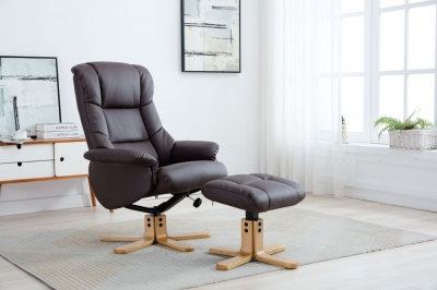 Florence leather recliner with FREE stool-3738
