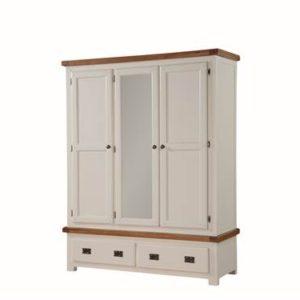 Heritage Oak painted 3 door wardrobe-0