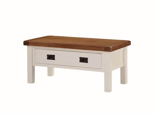 Heritage painted oak coffee table with drawer-0