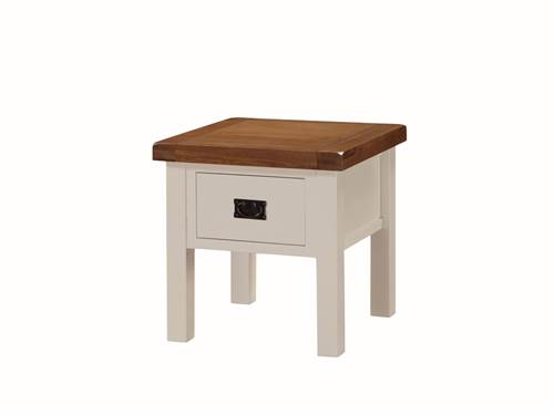 Heritage painted oak end table with drawer-0
