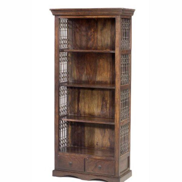 jali bookshelf with 2 drawers-0