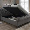 Castello fabric sleigh ottoman bed-2924