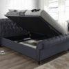 Castello fabric sleigh ottoman bed-2923