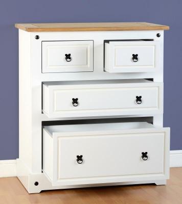 Corona white/pine 2+2 drawer chest-0