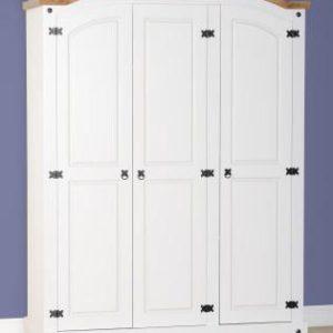 Corona white/pine 3 door wardrobe-0