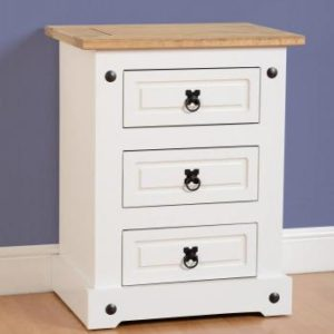 Corona white/pine 3 drawer bedside-0