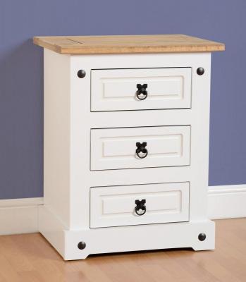 Corona white/pine 3 drawer bedside-0