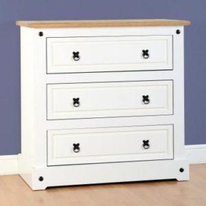 Corona white/pine 3 drawer chest-0