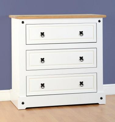 Corona white/pine 3 drawer chest-0