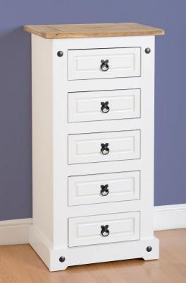 Corona white/pine 5 drawer chest-0