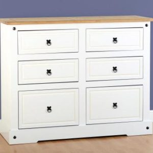 Corona white/pine 6 drawer chest-0