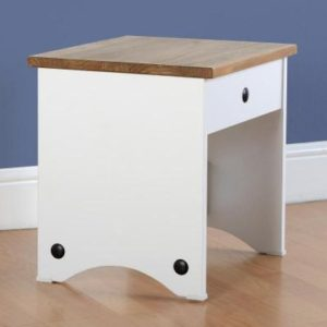 Corona white/pine dressing table stool-0