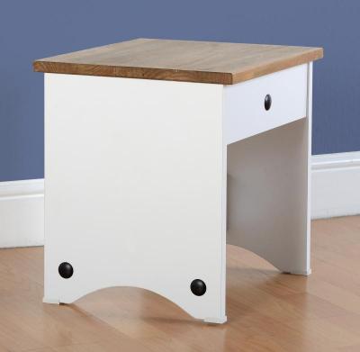 Corona white/pine dressing table stool-0