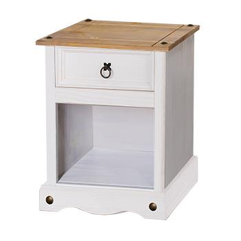Corona white wash 1 drawer bedside-0