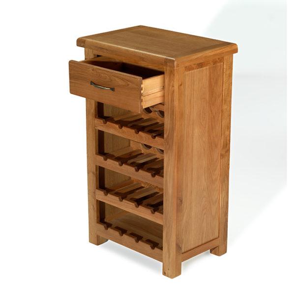 Earlswood oak petite wine rack with drawer-0