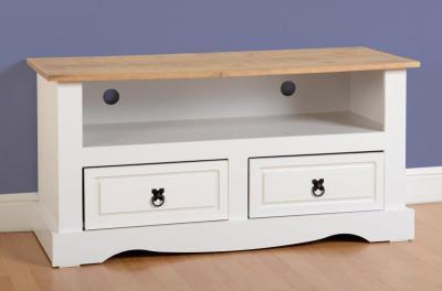 Corona white/pine flat screen tv unit-0
