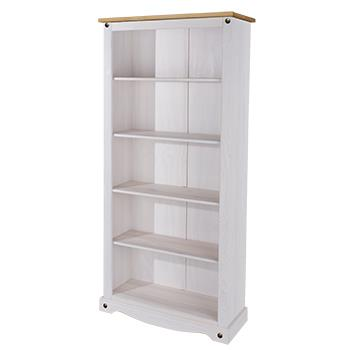 Corona white wash tall bookcase-0