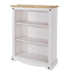 Corona white wash low bookcase-0