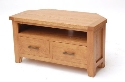 Hampshire oak corner TV unit-0