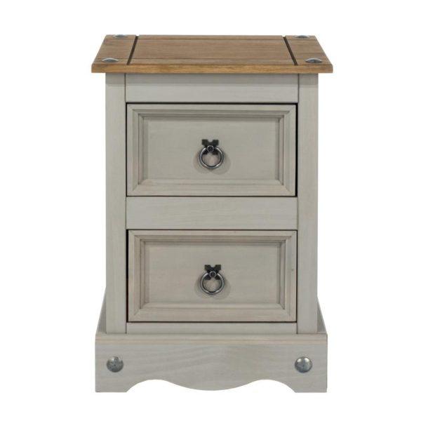 Corona Greywash 2 drawer bedside-0