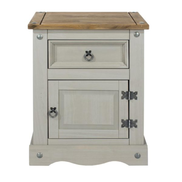 Corona Greywash 1 drawer 1 door bedside-0