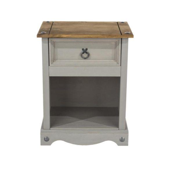 Corona Greywash 1 drawer bedside-0