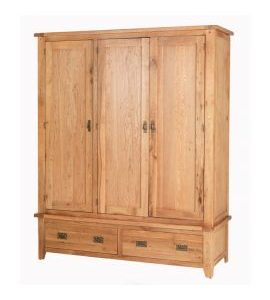 Cherbourg Oak 3 door 2 drawer robe-0