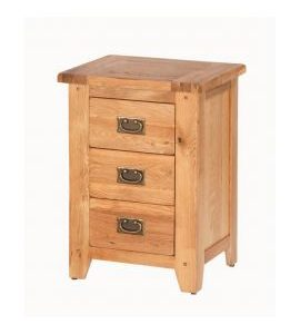 Cherbourg Oak 3 drawer bedside-0
