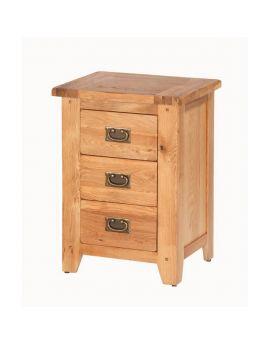 Cherbourg Oak 3 drawer bedside-0