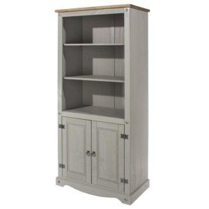 Corona Greywash 2 door bookcase-0