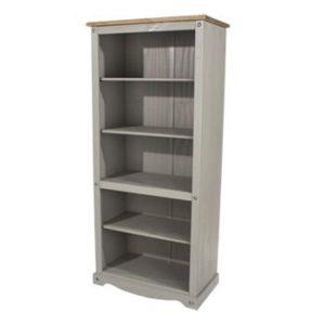 Corona Greywash tall wide bookcase-0