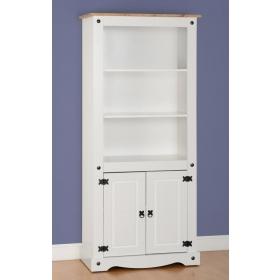 Corona white 2 door bookcase-0