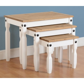 Corona white nest of 3 tables-0