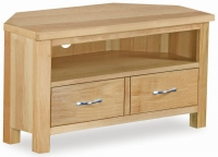 Trinity Petite Oak corner TV unit with large drawer-0