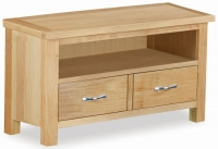 Trinity Petite Oak small TV unit with large drawer-0