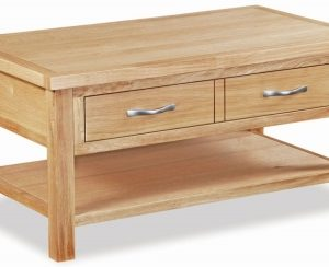 Trinity Petite Oak coffee table with large drawer-0