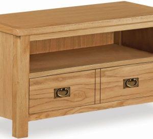 Bergerac Petite Oak small TV unit with large drawer-0