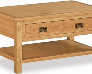Bergerac Petite Oak coffee table with large drawer-0