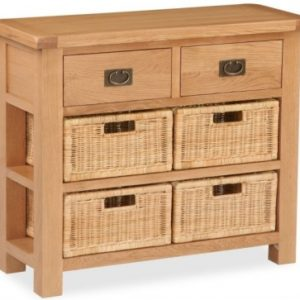 Bergerac Oak console table with baskets-0