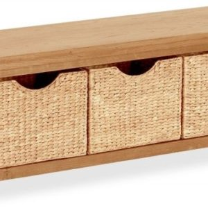 Bergerac Oak bench with baskets-0