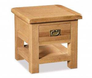 Bergerac Oak lamp table with drawer-0