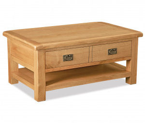 Bergerac Oak large coffee table with drawer and shelf-0