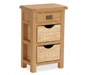 Bergerac Oak Telephone table with baskets-0