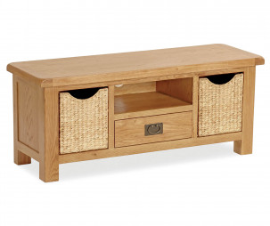 Bergerac Oak large TV unit with baskets-0